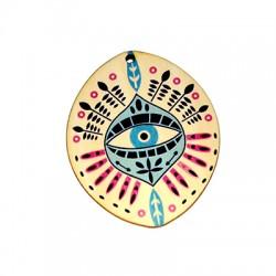 Ciondolo in Legno Ovale con Occhio Portafortuna dipinto 49x60mm