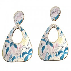 Wooden Painted Earring Floral 50x60mm
