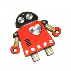 Wooden Painted Pendant Robot 60x59mm
