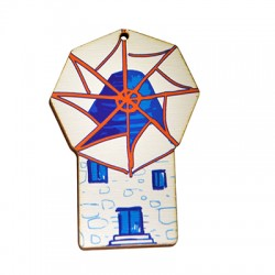 Wooden Pendant Windmill 48x75mm