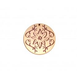 Ciondolo in Legno Rotondo dipinto con Fiori 60mm