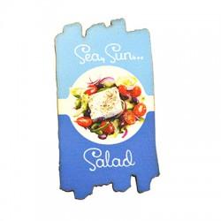 "Wooden Magnet Irregular Salad ""Sea,Sun….Salad"" 38x68mm"
