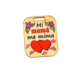 """Ξύλινο Μοτίφ Ταυτότητα """"Mi mama me mima"""" 33x40mm"""