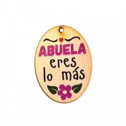 """Ξύλινο Μοτίφ Οβάλ """"ABUELA eres lo mas"""" 33x45mm"""