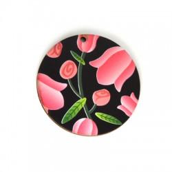 Ξύλινο Μοτίφ Στρογγυλό Λουλούδια 50mm
