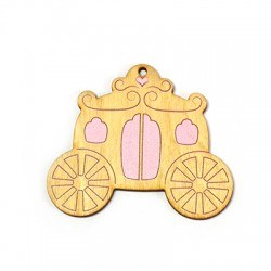 Wooden Painted Pendant Carriage 64x55mm