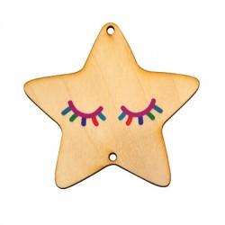 Ξύλινο Μοτίφ Αστέρι Μάτια 2 Τρύπες 68mm