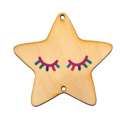 Wooden Lucky Pendant Star Eyes 68mm