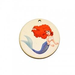 Wooden Painted Pendant Round w/ Mermaid 44mm