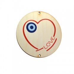 """Ξύλινο Μοτίφ Γούρι Στρογγυλό Καρδιά Μάτι """"LOVE"""" 75mm"""