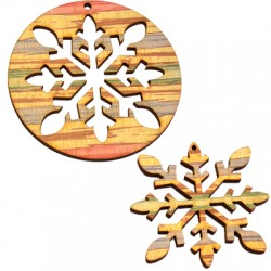 Wooden Lucky Pendant Round Snowflake 75mm & 60mm (2 pieces set)