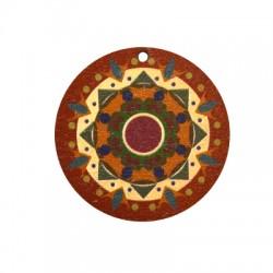 Ciondolo di Legno Tondo 40mm con Disegni dipinti