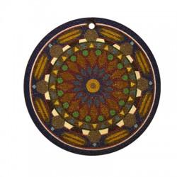 Ciondolo di Legno Tondo 45mm con Disegni dipinti