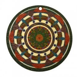 Ciondolo di Legno Tondo 50mm con Disegni dipinti