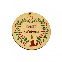 """Wooden Lucky Pendant Round """"Best Wishes"""" Candle Mistletoe 75mm"""