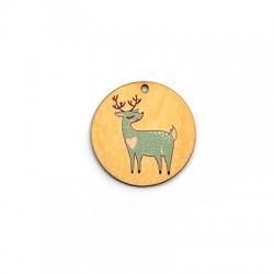 Wooden Pendant Round Deer 35mm