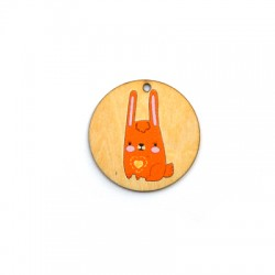 Wooden Pendant Round Hare 35mm