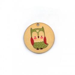 Wooden Pendant Round Owl 35mm