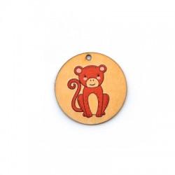 Wooden Pendant Round Monkey 35mm