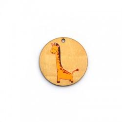 Wooden Pendant Round Giraffe 35mm