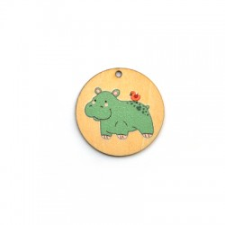 Wooden Pendant Round Hippo 35mm
