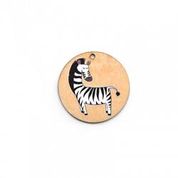Ciondolo di Legno Tondo 35mm con Zebra dipinta
