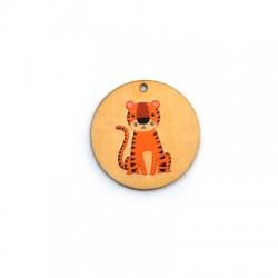 Ciondolo di Legno Tondo 35mm con Tigre dipinta