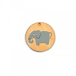 Ciondolo di Legno Tondo 35mm con Elefante dipinto