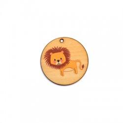 Ciondolo di Legno Tondo 35mm con Leone dipinto