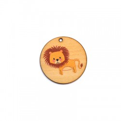 Wooden Pendant Round Lion 35mm