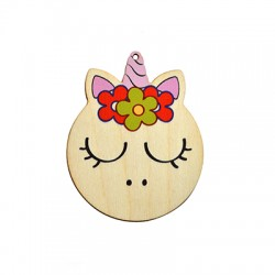 Wooden Lucky Pendant Unicorn Head 67x84mm