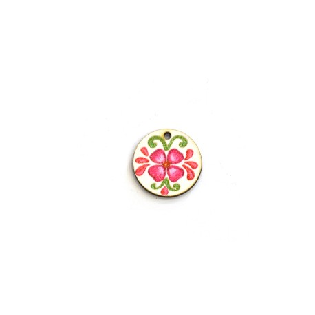 Ξύλινο Μοτίφ Στρογγυλό Λουλούδια 20mm