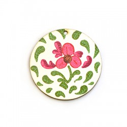 Wooden Pendant Round Flowers 45mm