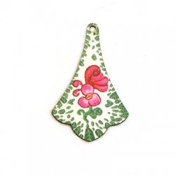 Wooden Pendant Irregular Flowers 35x55mm