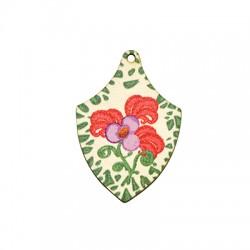 Wooden Pendant Irregular Flowers 34x50mm