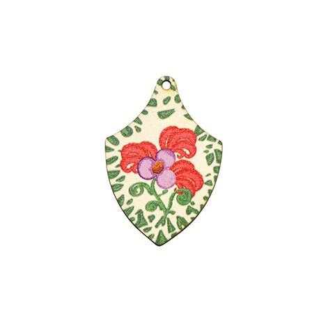 Ξύλινο Μοτίφ Ακανόνιστο Λουλούδια 34x50mm