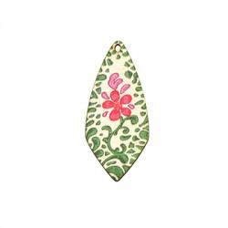 Wooden Pendant Drop Flowers 22x50mm