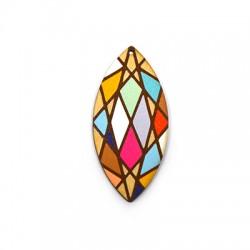 Wooden Pendant Drop Diamond 29x61mm