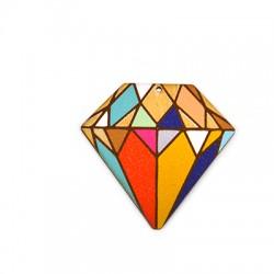 Ξύλινο Μοτίφ Διαμάντι 54x52mm