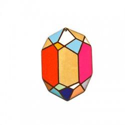 Wooden Pendant Oval Diamond 39x58mm