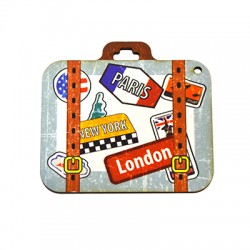 Wooden Pendant Suitcase Countries 70x65mm