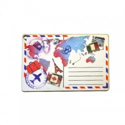 Wooden Pendant Card Postal Map 80x53mm