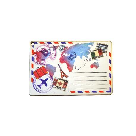 Ξύλινο Μοτίφ Καρτ Ποστάλ Χάρτης 80x53mm