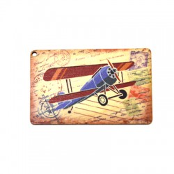 Wooden Pendant Card Postal Helicopter 80x51mm