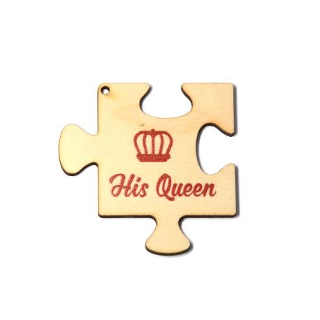 """Ξύλινο Μοτίφ Παζλ """"His Queen"""" Στέμμα 60mm"""