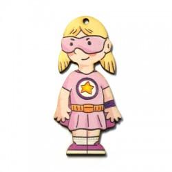 Ξύλινο Μοτίφ Super Κορίτσι 33x70mm
