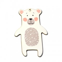 Wooden Pendant Bear 50x75mm
