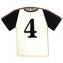 """Wooden Pendant Football Shirt """"4"""" 66x54mm"""
