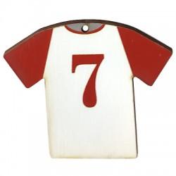 """Wooden Pendant Football Shirt """"7"""" 66x54mm"""