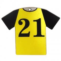 """Wooden Pendant Football Shirt """"21"""" 66x54mm"""